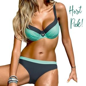HP! Turquoise blue padded push up bikini set, S
